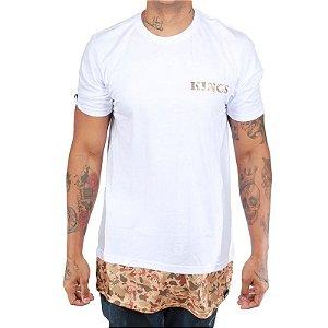 Camiseta Kings Oversized Zípper Camuflada Branca