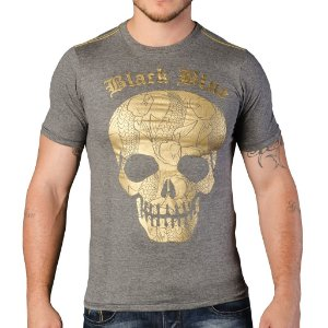 Camiseta Black Blue Caveira Cinza