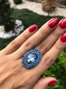 Anel Oval Strass Azul (Tam. P)