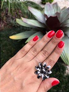 Anel Ródio Negro Flor Dupla