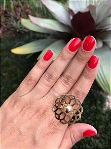 Anel Dourado Flor Vazada