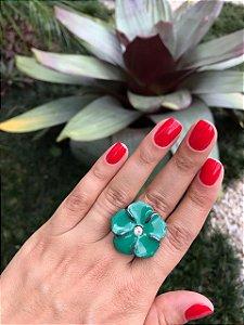 Anel Em Ródio Negro Esmaltado Flor Verde