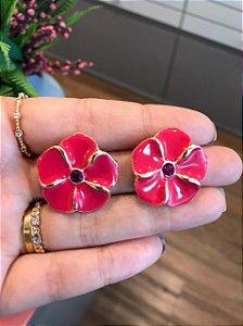 Brinco Flor Esmaltada Pink