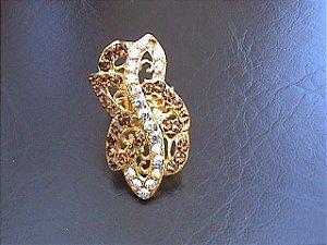Semijoia - Anel com cristais Swarovski e sete (7) banhos de ouro - peça única