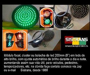 """Módulo focal, cluster ou bolacha de led 200mm (8"""") em leds de  alto brilho, com ajuste automático de brilho durante o dia e noite, aumentando assim sua vida útil, para veículos, pedestres, temporizadores, etc,"""
