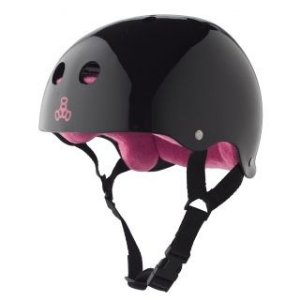 Capacete Triple Eight Brainsaver Sweatsaver Black Glossy Pink
