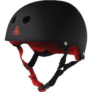 Capacete Triple Eight Brainsaver Sweatsaver Black Rubber Red