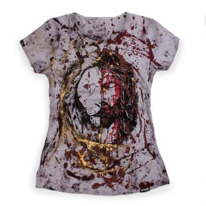 CAMISETA FEMININA CUSTOM JESUS&LION