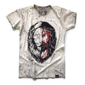 CAMISETA  JESUS LEÃO OFF WHITE