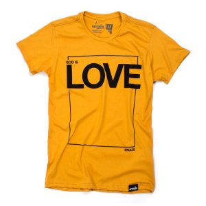 CAMISETA GOD IS LOVE MOSTARDA