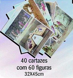 40 cartazes com 60 figuras 32x45cm