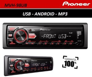 Auto Rádio Pioneer MVH-98UB com USB, SD Card, Pendrive, Saída RCA, Auxiliar