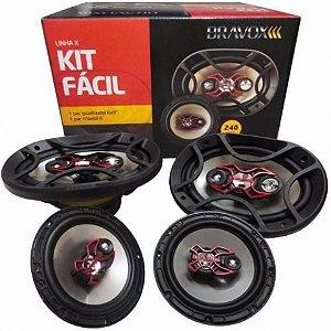 """Kit Alto-Falante Bravox Kit Fácil 6x9"""" + 6"""" 240w Rms 4 Ohms (B4x69x + B3x60x)"""