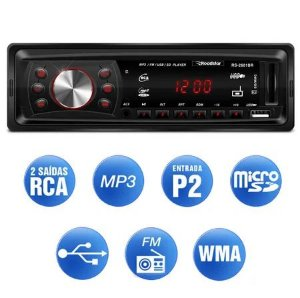 Mp3 Player Automotivo Roadstar Rs-2601br Usb Sd Radio Fm Aux