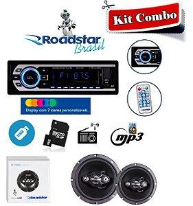 Kit Combo -  Alto Falante RS1709BR + Rádio Roadstar RS2707BR