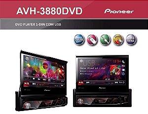 Pioneer AVH-3880 1 Din Tela Retrátil 7 Polegadas Touch Screen USB Auxiliar Rádio AM FM