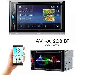 "DVD Player Automotivo Pioneer 2 Din AVH-A208BT - Tela 6.2"" - USB, Aux e Bluetooth"