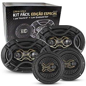 "Alto Falante Bravox Kit Fácil GOLD Triaxial 6"" 50RMS e Quadriaxial 6x9"" 70RMS - B4X69G"