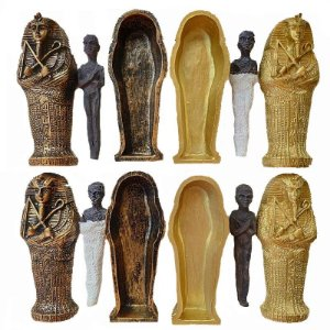 Miniatura de múmia com sarcófago