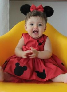 Vestido Minnie Festa Aniversário Infantil Patchwork Tam. 01 ao 06.
