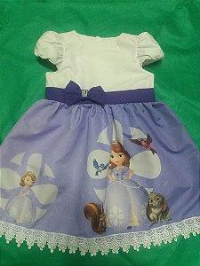 Vestido Princesinha Sofia Infantil Tema Aniversario Tam. 01 ao 14.