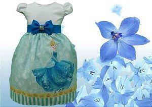 Vestido Cinderela Festa Infantil Tema Aniversário Cinderela Princesa Disney Tam. 01 ao 14.