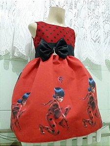 Vestido Ladybug Miraculous Infantil Vestido De Festa Tam 01 ao 14 Tia Gina.
