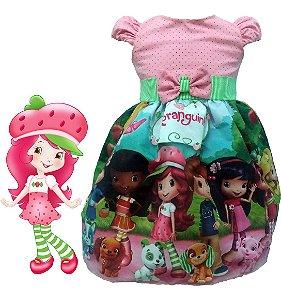 Vestido Infantil Moranguinho Tema Festa Infantil Perfeita Tam. 01 ao 14.