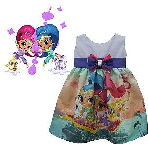 Vestido Shimmer And Shine Infantil Perfeito Para a Festa de sua princesinha.