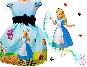 Vestido Alice No País Das Maravilhas Festa Infantil Tam. 01 ao 14.