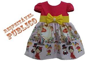 Vestido de Festa Tema Circo Infantil Tam. 01 ao 14 - Tia Gina.