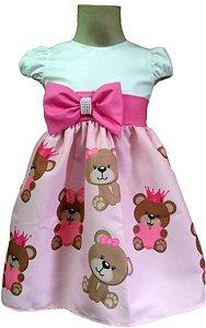 Vestido Infantil Ursa Marrom Tia Gina Perfeição à Toda Prova. Tam 01 ao 14.