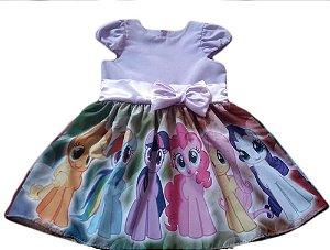 Vestido My Little Pony Infantil Temático Tam. 01 ao 14 - Tia Gina.