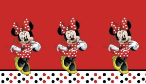 Tecido Minnie Mouse Disney Vermelha Estampa Sublimada.