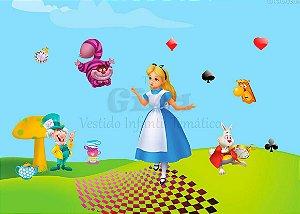 Tecido Alice no Pais das Maravilhas Estampado 70 cm X 40 cm.