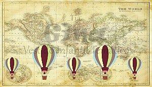 Tecido Balão Mapa Mundi Estampado 70 Cm X 40 Cm.