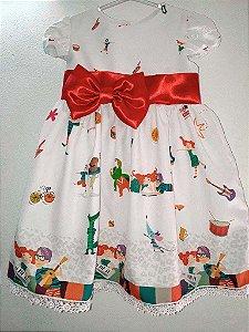 Vestido Palavra Cantada Infantil Luxo Tam. 01 ao 14.