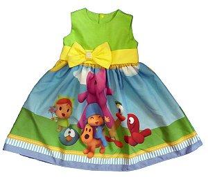 Vestido Pocoyo Infantil Festa Menina Tam. 01 Ao 06 Tia Gina.