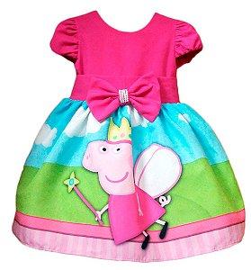 Vestido Peppa Pig Infantil Festa Tia Gina Tam. 01 ao 14.