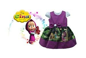 Vestido Masha E O Urso Festa Infantil Menina Tia Gina.