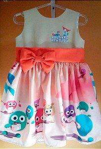 Vestido Palavra Cantada Infantil Festa Menina Tam. 01 Ao 14.