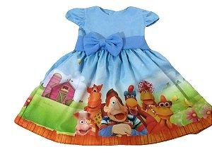 Vestido Cocoricó Infantil Menina Festa Aniversário Tam. 01 ao 06.