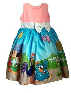 Vestido Galinha Pintadinha Infantil Menina Tam. 01 ao 06.