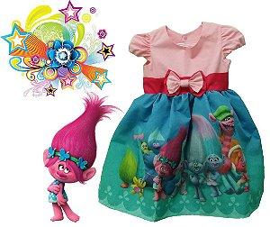Vestido Trolls Roupa Infantil Lindo Para Festa Tam 01 Ao 10.