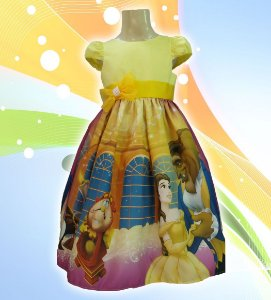 Vestido Bela E A Fera Festa Infantil Tema Princesas Disney Tam. 01 ao 14.