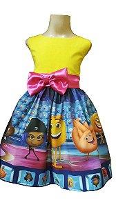 Vestido Emoji O Filme Infantil Emoticons Festa Menina Tam 01 ao 14.