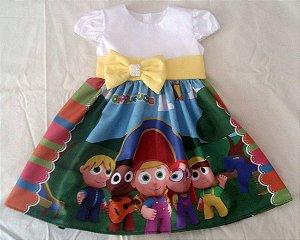 Vestido Pequerruchos Infantil Menina Festa Aniversário Tam. 01 ao 06.