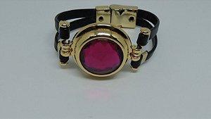 Bracelete de couro e metal dourado com rosa