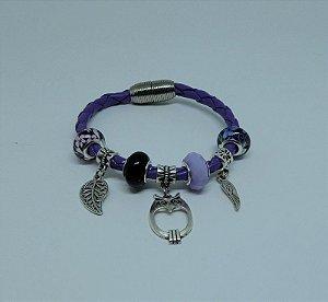 Bracelete de couro Roxo e pingentes prata