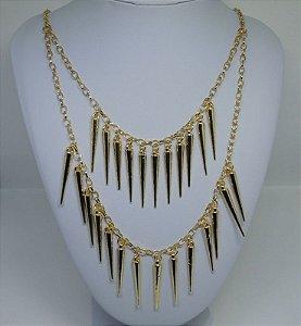 Maxi colar Étnico com pingentes folheado a ouro